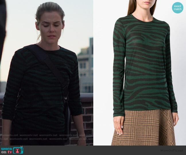Tiger Print Long Sleeve T-Shirt by Proenza Schouler worn by Trish Walker (Rachael Taylor) on Jessica Jones