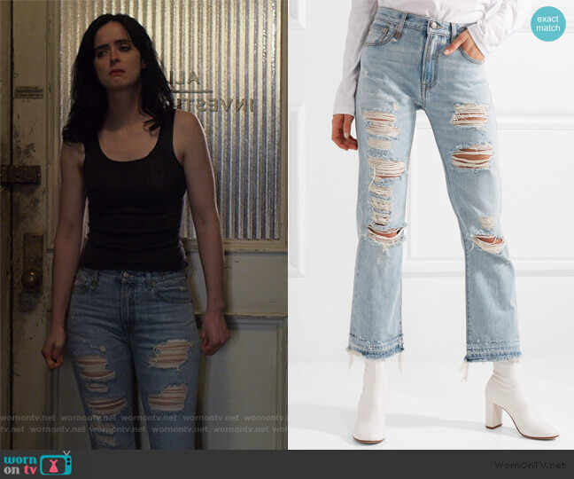 Bowie distressed mid-rise straight-leg jeans by R13 worn by Jessica Jones (Krysten Ritter) on Jessica Jones