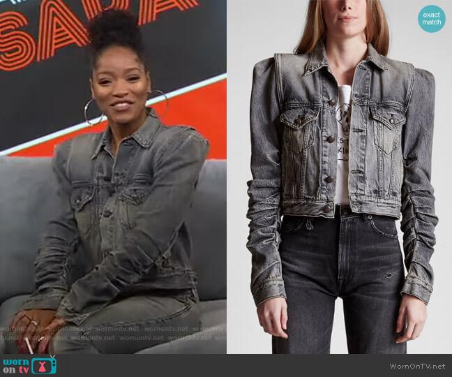 Kelsey Shirring Denim Jacket by R13  worn by Keke Palmer  on Good Morning America