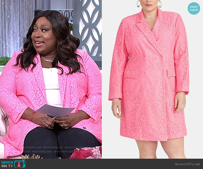 Darla Plus Size Lace Blazer Dress by RACHEL Rachel Roy worn by Loni Love  on The Real
