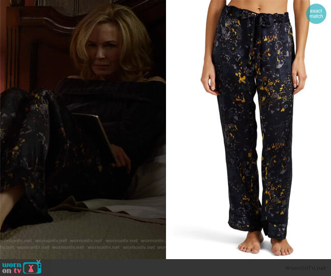 Pamela Floral Silk Pajama Pants by Raven & Sparrow by Stephanie Seymore worn by Anne Montgomery (Renee Zellweger) on What/If