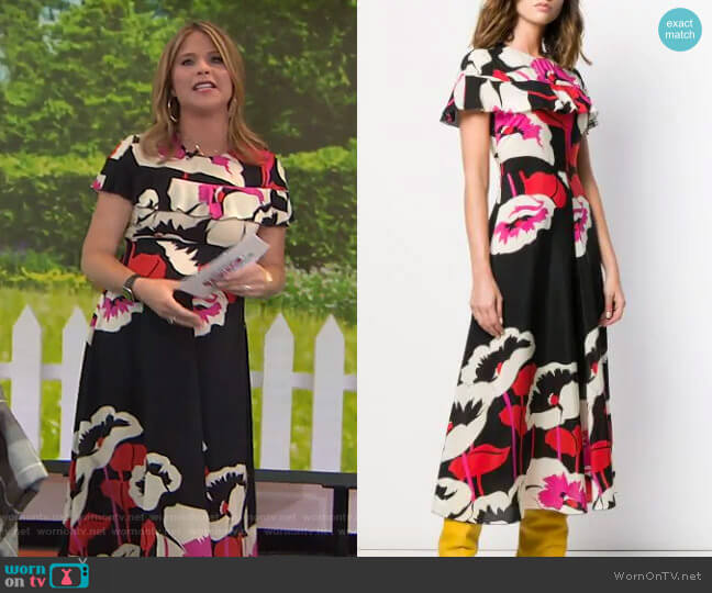 Floral Midi Dress by RED Valentino worn by Jenna Bush Hager  on Today