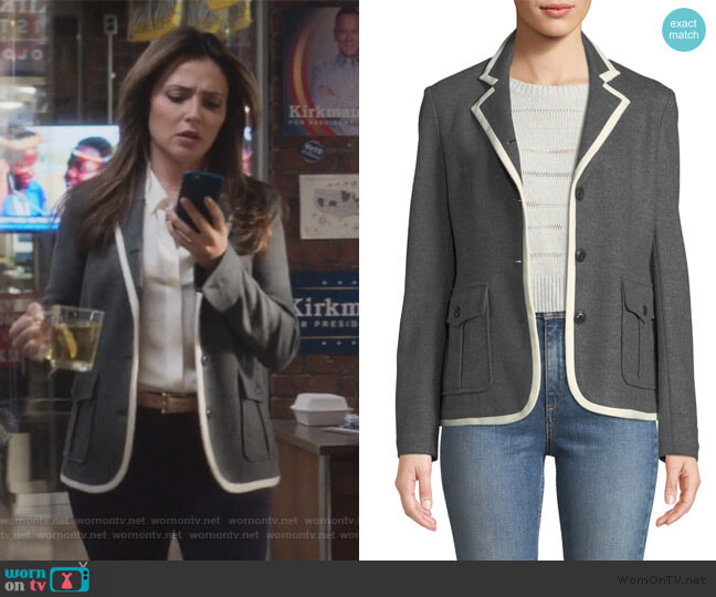 Uni Button-Front Wool Blazer by Rag & Bone worn by Emily Rhodes (Italia Ricci) on Designated Survivor