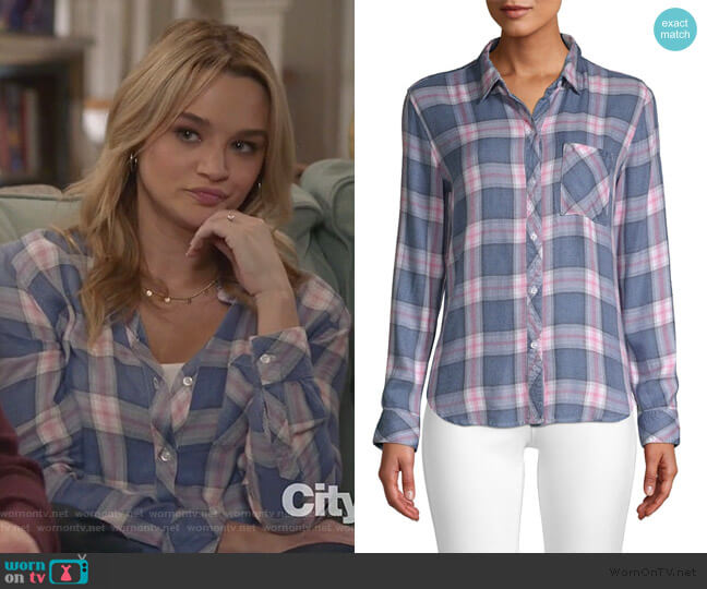 Hunter Plaid Pocket Shirt in Indigo Berry by Rails worn by Clementine Hughes (Hunter King) on Life in Pieces