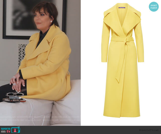 Yellow Long Belted Coat by Ralph Lauren worn by Kris Jenner  on Keeping Up with the Kardashians