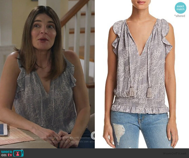 Donnie Printed Top by Ramy Brook worn by Heather Hughes (Betsy Brandt) on Life in Pieces