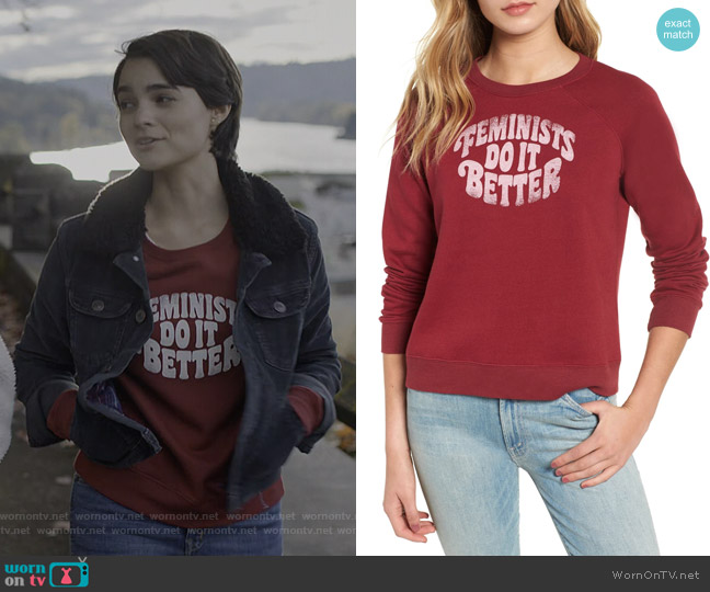 Jennings Feminists Do It Better Sweatshirt by Rebecca Minkoff worn by Elodie Davis (Brianna Hildebrand) on Trinkets