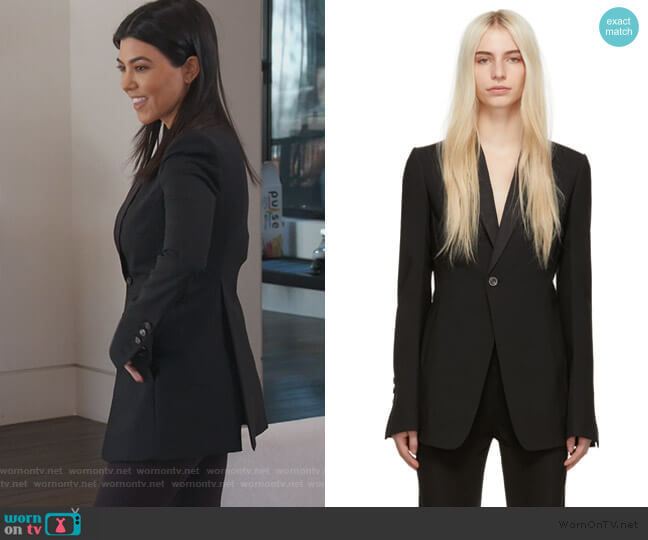 Black Soft Blazer by Rick Owens worn by Kourtney Kardashian  on Keeping Up with the Kardashians