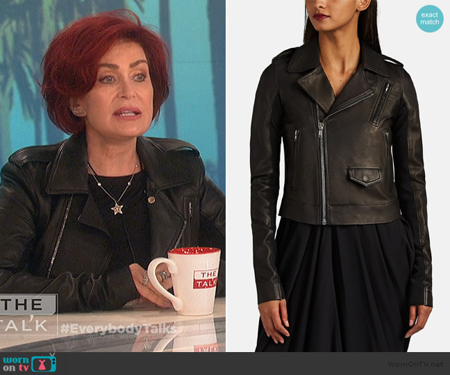 Stooges Leather Crop Moto Jacket by Rick Owens worn by Sharon Osbourne  on The Talk