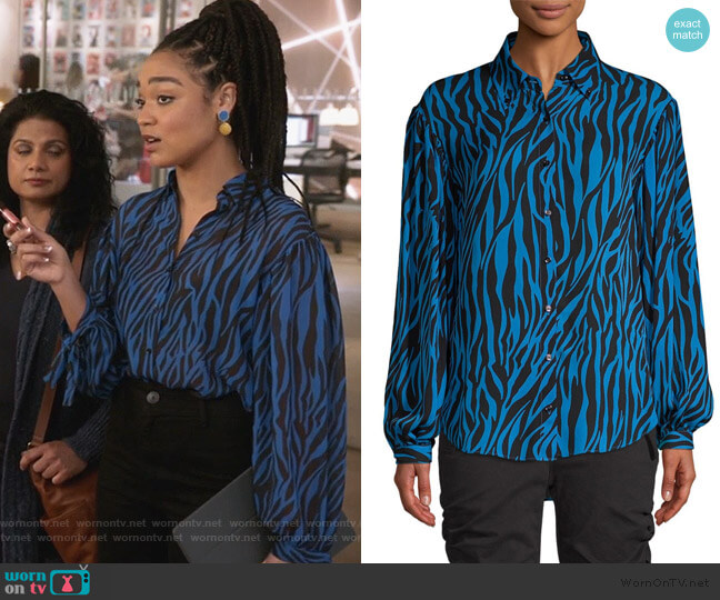 Zebra-print georgette shirt by Robert Rodriguez worn by Kat Edison (Aisha Dee) on The Bold Type