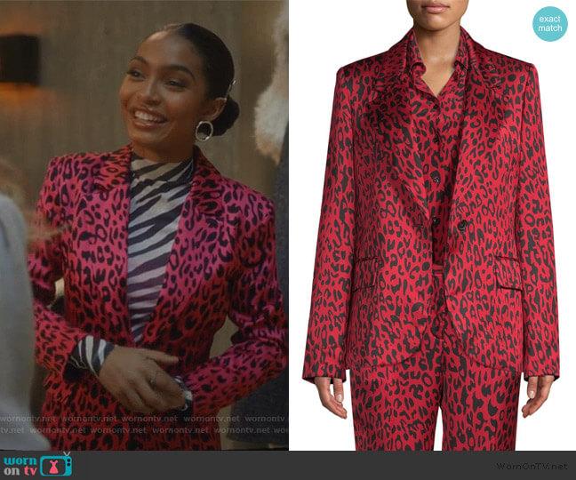 Leopard Blazer by Robert Rodriguez worn by Zoey Johnson (Yara Shahidi) on Grown-ish