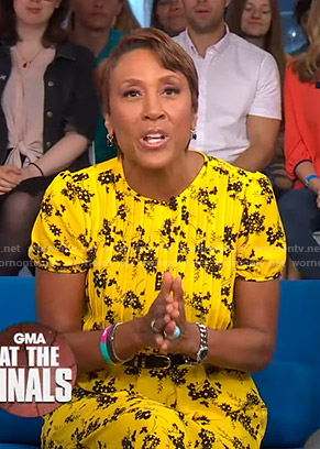 Robin's yellow floral pintuck dress on Good Morning America
