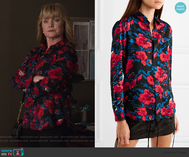 Floral-print silk-jacquard shirt by Saint Laurent worn by Dorothy Walker (Rebecca De Mornay) on Jessica Jones