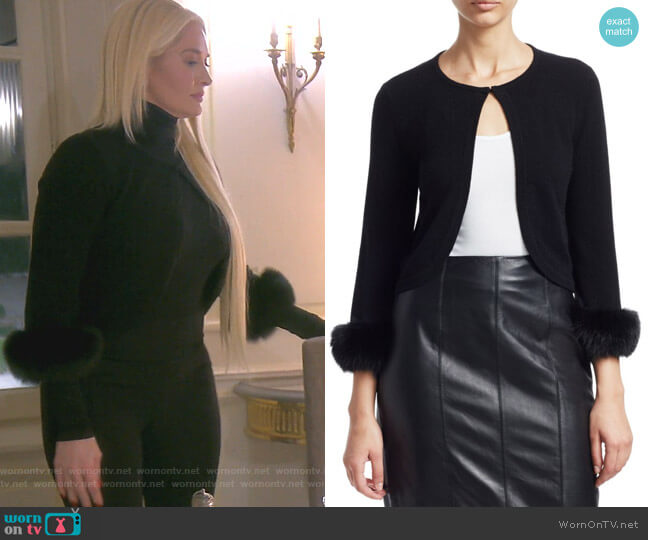 Cashmere Cropped Fox Fur Cuff Cardigan by Saks Fifth Avenue Collection worn by Erika Girardi  on The Real Housewives of Beverly Hills