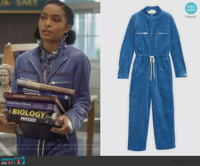 Corduroy jumpsuit  by Sandro worn by Zoey Johnson (Yara Shahidi) on Grown-ish