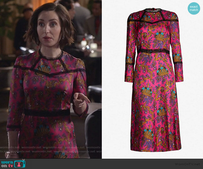 Lace-panelled printed silk midi dress by Sandro worn by Jennifer Short (Zoe Lister-Jones) on Life in Pieces