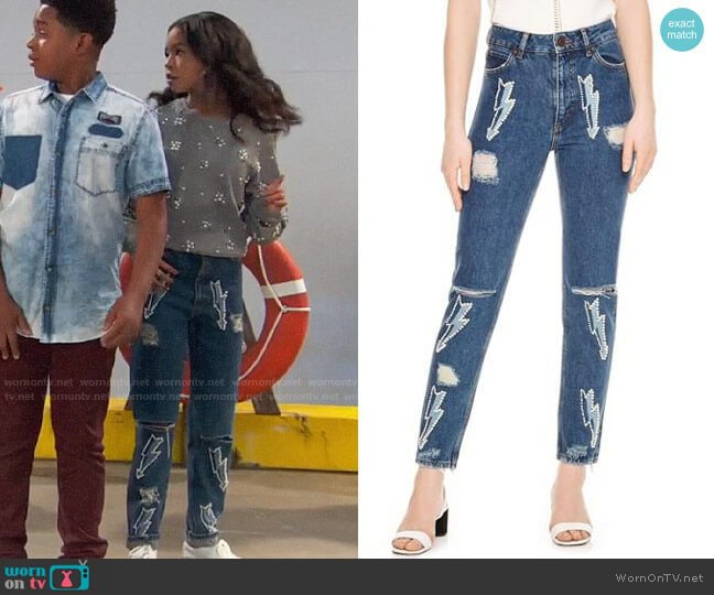 Sandro Rebecca Lightning Bolt Graphic Jeans worn by Nia Baxter (Navia Robinson) on Ravens Home