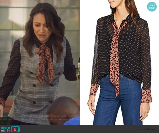 Mixed Print Bow Blouse by Scotch & Soda worn by Ana Torres (Francia Raisa) on Grown-ish