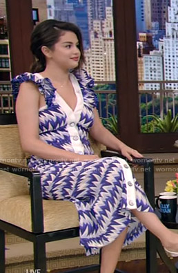 Selena Gomez's blue and white print dress on Live with Kelly and Ryan