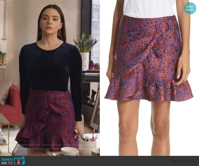 Ruffle Hem Jacquard Skirt by Opening Ceremony worn by Jane Sloan (Katie Stevens) on The Bold Type