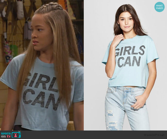 Target Mighty Fine Short Sleeve Girls Can Cropped T-Shirt worn by Ava (Shelby Simmons) on Bunkd