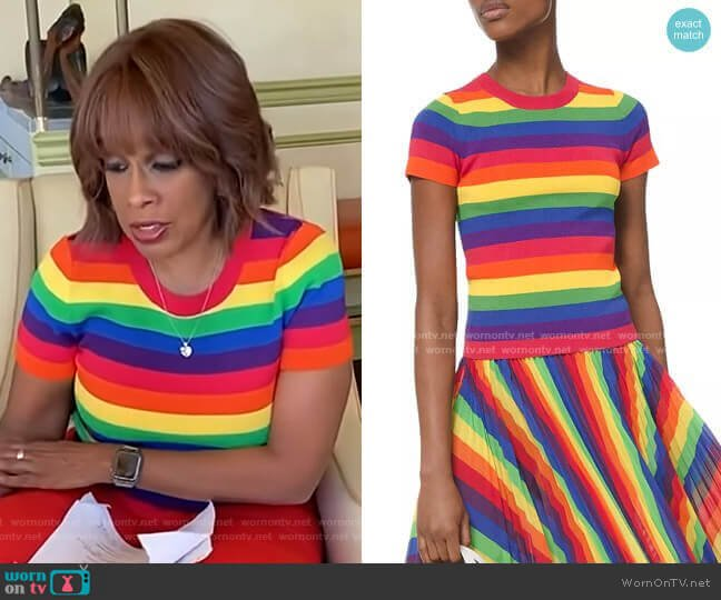 Short Sleeve Rainbow Sweater by Michael Michael Kors worn by Gayle King  on CBS This Morning
