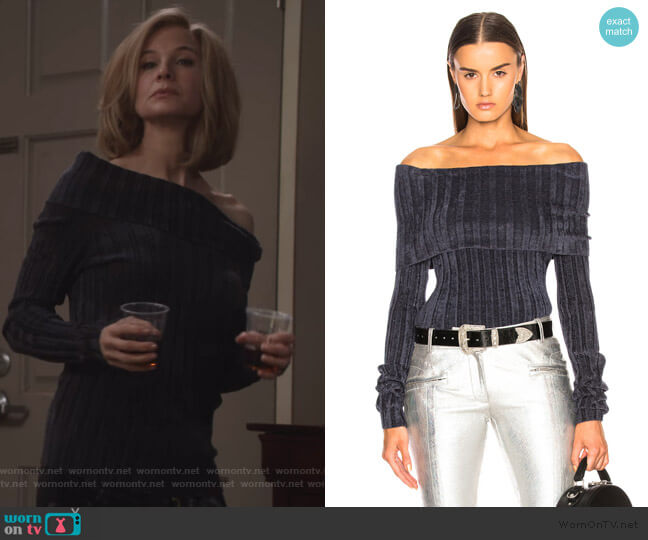 Daphne Velour Rib Off Shoulder Sweater by Sies Marjan worn by Anne Montgomery (Renee Zellweger) on What/If