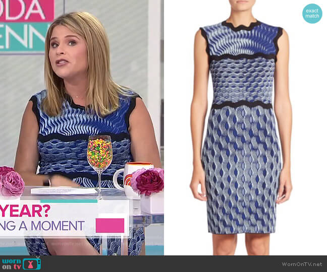 Sleeveless Wavy Print Knit Dress by Mary Katrantzou worn by Jenna Bush Hager  on Today