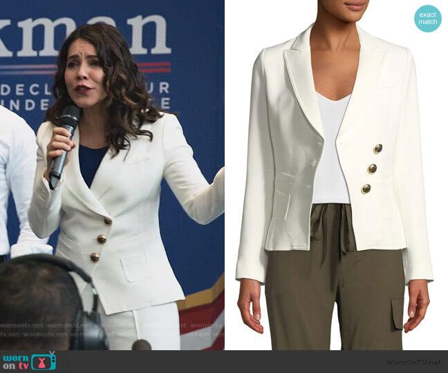 Double-Breasted Three-Button Wrap Blazer by Smythe worn by Isabel Pardo (Elena Tovar) on Designated Survivor