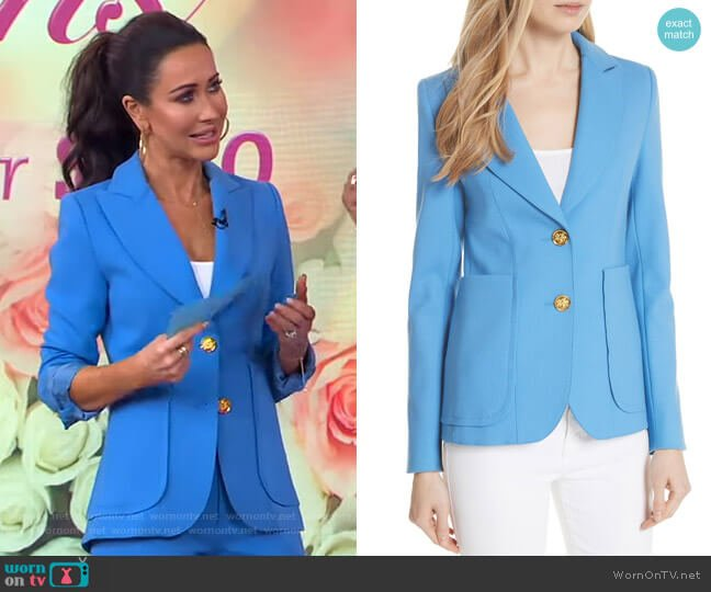 Smythe Portrait Neck Wool Blazer worn by Jessica Mulroney on GMA
