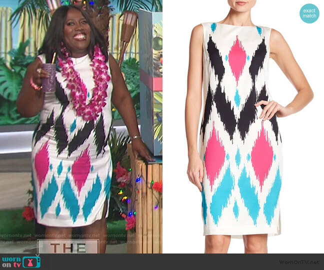 Sultana Ikat Print Stretch Dress by St. John Collection worn by Sheryl Underwood  on The Talk