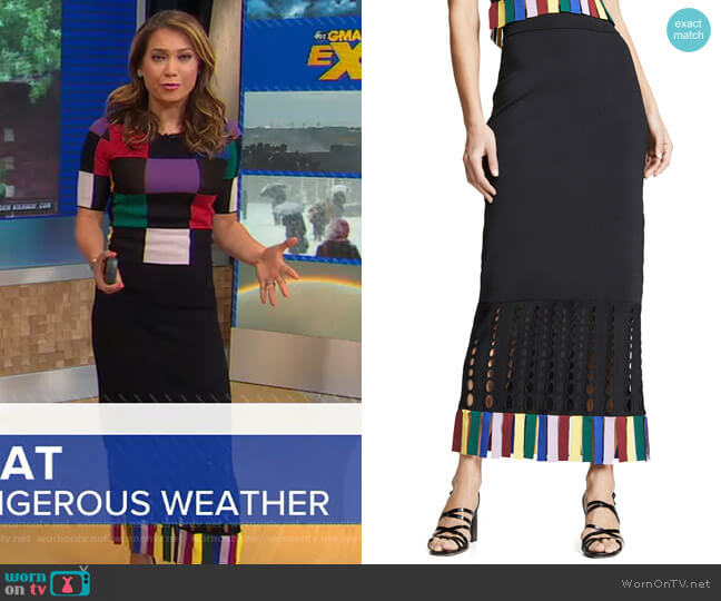 Garage Skirt by Staud worn by Ginger Zee  on Good Morning America