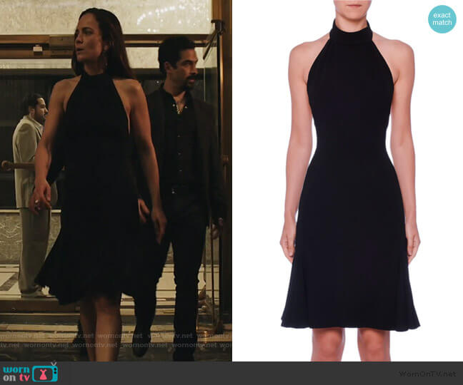 Sleeveless Halter-Neck Open-Back Fit-and-Flare Cady Dress by Stella McCartney worn by Teresa Mendoza (Alice Braga) on Queen of the South