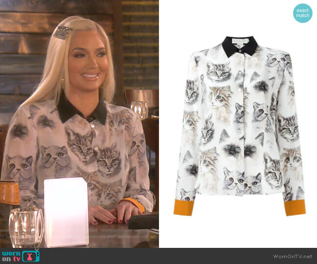 Wilson Cat Print Shirt by Stella McCartney worn by Erika Girardi  on The Real Housewives of Beverly Hills