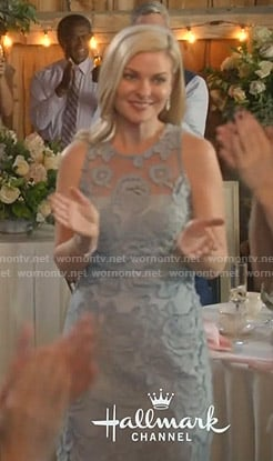 Stephanie's blue floral embroidered dress on Good Witch