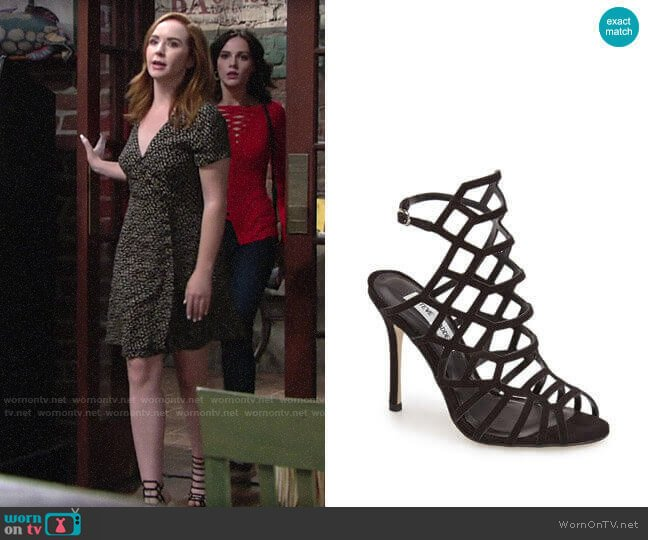 Steve Madden Slithur Sandals worn by Mariah Copeland (Camryn Grimes) on The Young & the Restless