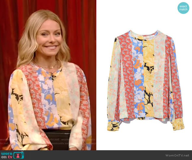 Karolina Blouse by Stine Goya worn by Kelly Ripa  on Live with Kelly & Ryan