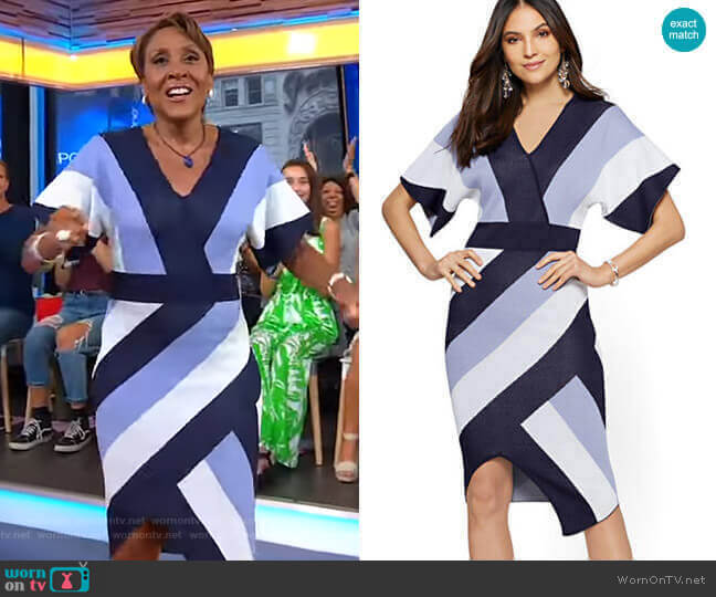 Stripe Wrap Sweater Dress by New York & Company worn by Robin Roberts  on Good Morning America