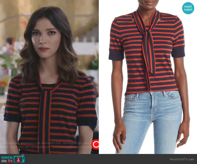 Scarf Tie-Neck Striped Tee by Frame worn by Alicia Mendoza (Denyse Tontz) on Grand Hotel