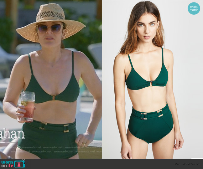 Jungalow Ring Front Bralette Bikini Top and bottoms worn by Heather Hughes (Betsy Brandt) on Life in Pieces