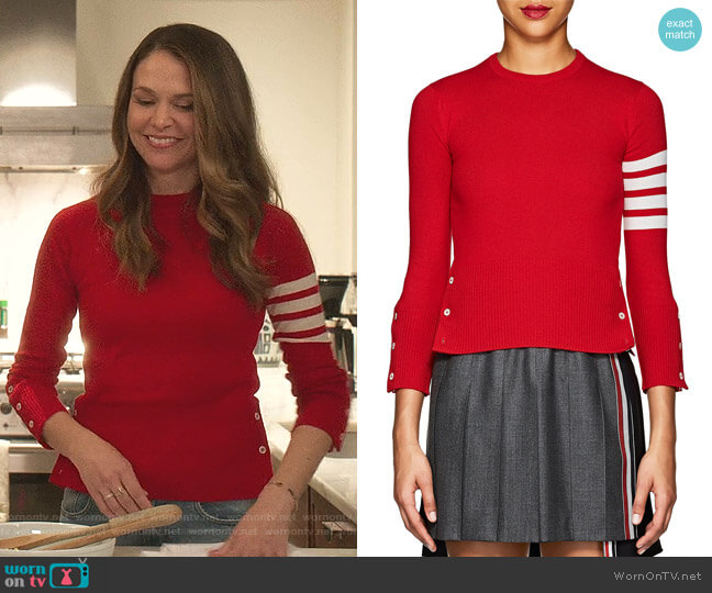 Block-Striped Cashmere Sweater by Thom Browne worn by Liza Miller (Sutton Foster) on Younger
