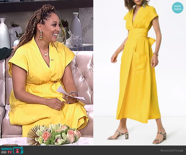 Clarissa Belted Wrap Dress by Three Graces worn by Tamera Mowry  on The Real