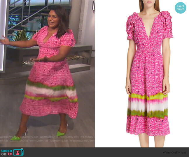 Luciana Dress by Tanya Taylor worn by Mindy Kaling on The Talk