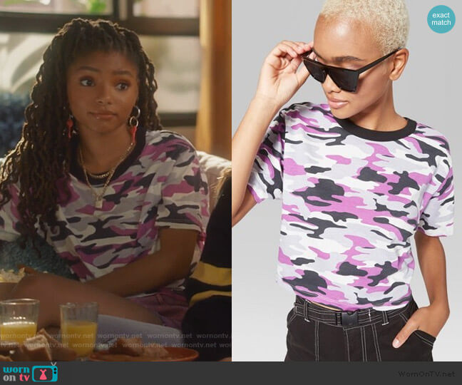 Camo Ringer t-shirt by Target worn by Skylar Forster (Halle Bailey) on Grown-ish