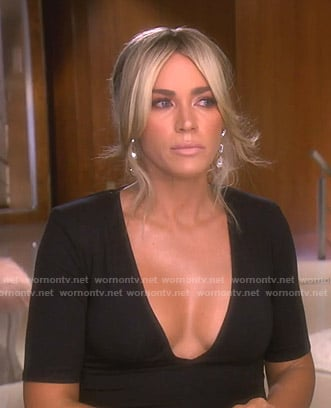 Teddi's black v-neck top on The Real Housewives of Beverly Hills
