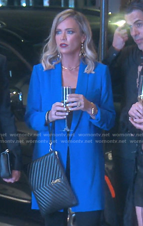 Teddi's blue oversized blazer on The Real Housewives of Beverly Hills