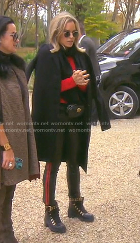 Teddi's red sweater and combat boots on The Real Housewives of Beverly Hills