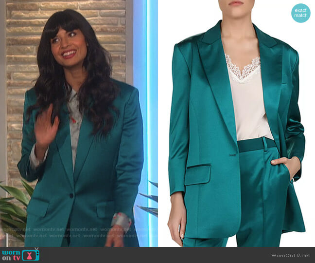Satin Blazer by The Kooples by Jameela Jamil on The Talk