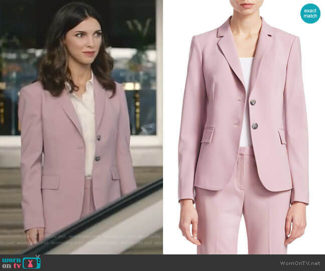 Nichelle Blazer and Demitria pants in Dusty Lilac by Theory worn by Alicia Mendoza (Denyse Tontz) on Grand Hotel
