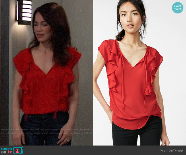 Express Tie Neck Ruffle Front Cap Sleeve Blouse worn by Elizabeth Webber (Rebecca Herbst) on General Hospital